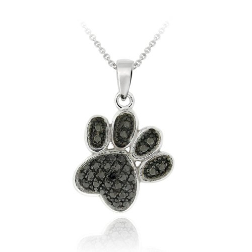 Sterling Silver Black Diamond Accent Paw Print Pendant
