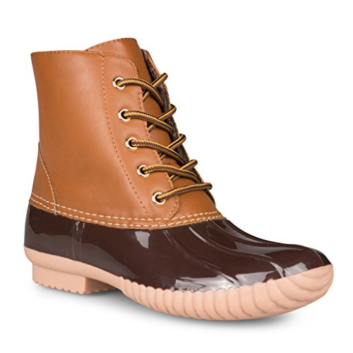 Twisted Women's Becca Two-Tone Insulated Duck Rain Boot- BROWN, Size 9