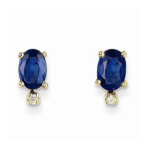 Diamond & Sapphire Earrings - 14k Yellow Gold - 6 X 4mm - 0.7gr