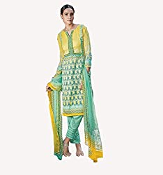 Lemon Yellow Printed With Embroidery Cotton Silk Salwar Suit