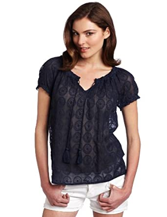 Lucky Brand Women's Lily Embroidered Top, American Navy, X-Small