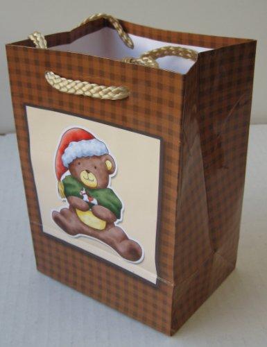 Small Christmas Gift Present Bag  a Teddy Bear