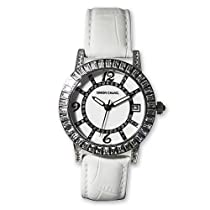 Ladies Simon Chang Stainless Steel CZ Bezel White Band Watch
