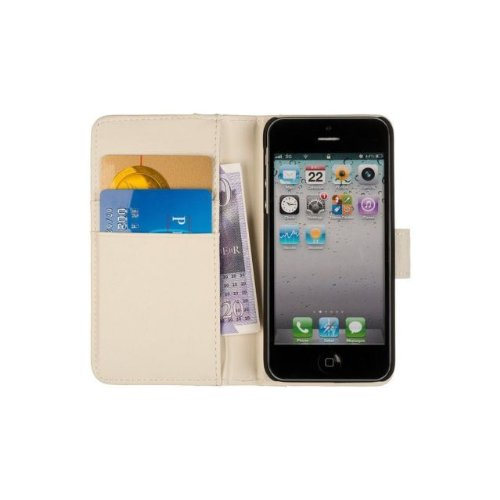 Great Price Fonerize Leather Wallet and iPhone 5 & 5S Case and Credit Card Holder in White