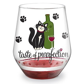 Taste of Purrfection Hand Painted Stemless Wine Glass