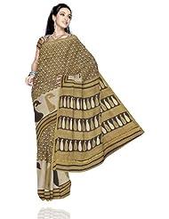 Unnati Silks Women Chanderi Sico Printed Cream Saree