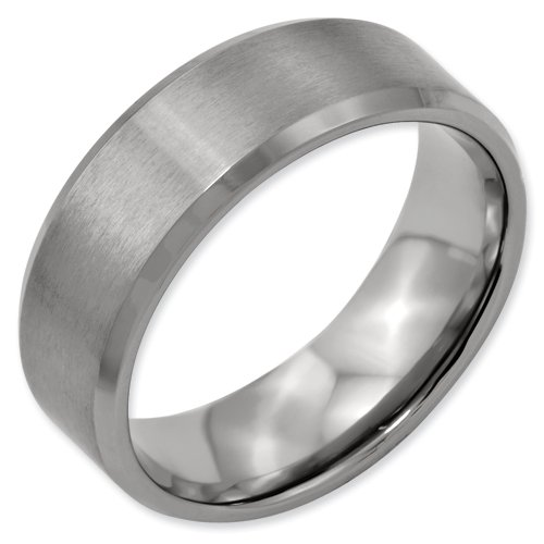 Titanium Beveled Edge 8mm Brushed and Polished Band Ring Size 16.5 Real Goldia Designer Perfect Jewelry Gift for Christmas