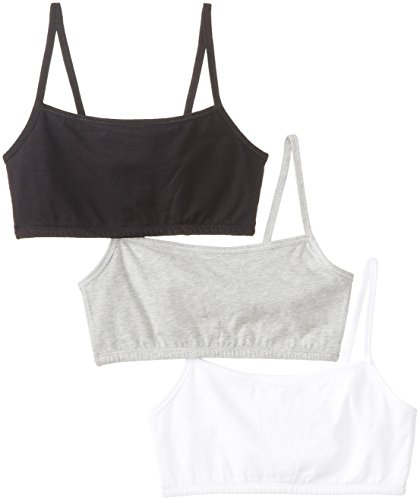 Fruit of the Loom Women'sCotton Pullover Sportsbra, White/Grey Heather/Black Hue