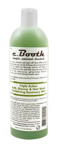 C. Booth Triple Action Rosemary Bath Shower and Hair Wash, Mint, 16 Fluid Ounce Action Bath