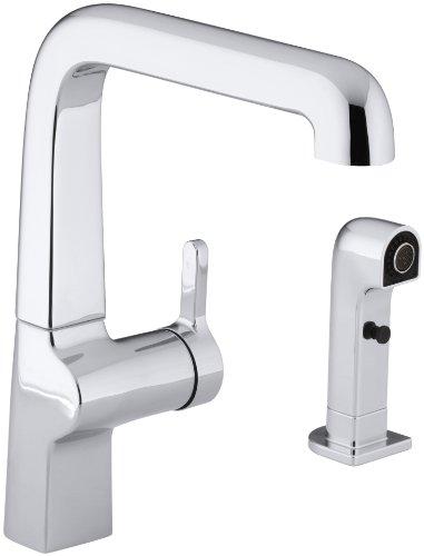 KOHLER K-6334-CP Evoke Single Control Kitchen Sink Faucet with Sidespray, Polished Chrome