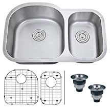 "Ruvati RVM4400 Undermount 16 Gauge 32"" Kitchen Sink Double Bowl"