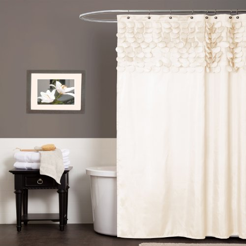 Lush Decor Lillian Shower Curtain, 72-Inch by 72-Inch, Beige