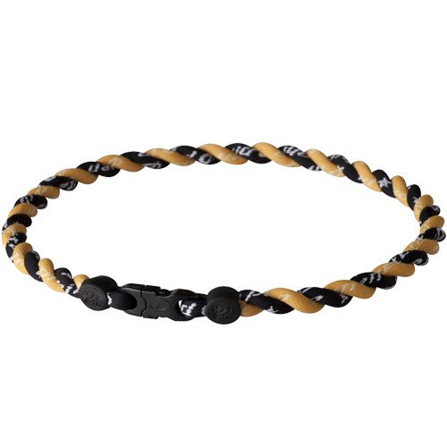 Phiten Custom Titanium Necklace Black/Gold with Black/Gold Trim and Black/Gold Clasp 18
