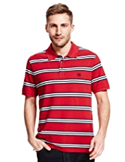 Blue Harbour Pure Cotton Triple Striped Piqué Polo Shirt