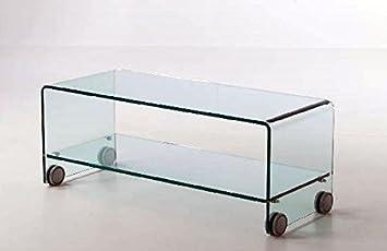 mesa de centro de cristal Jools con ruedas. Flotador 10 mm, L 100 P 40 H 401. Hecho en Italia.