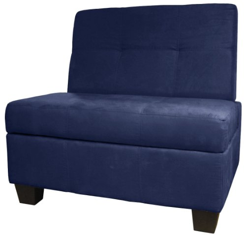 Epic Furnishings Butler Storage Bench, Suede Dark Blue