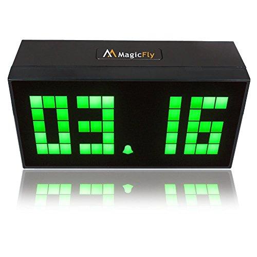Magicfly Large Big Jumbo LED Snooze Digital Wall Desk Alarm Clock Calendar Time Temperature Clock--Green Light