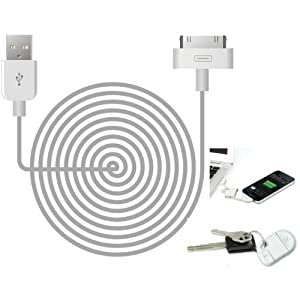 My Tech Stores Flipsync Keychain USB Charge and Sync Cable, White