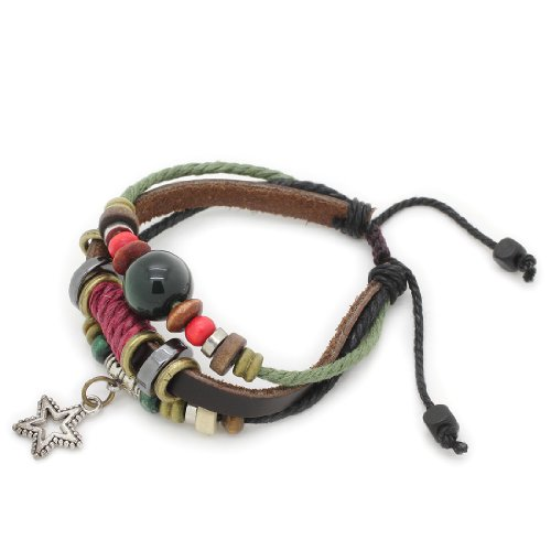 3-Strand Genuine Leather Adjustable Wristband / Bracelet with Rings, Green Bead & Star Charm