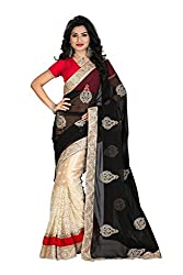 OMKAR CLUB New Black And Beige Color Georgette Saree