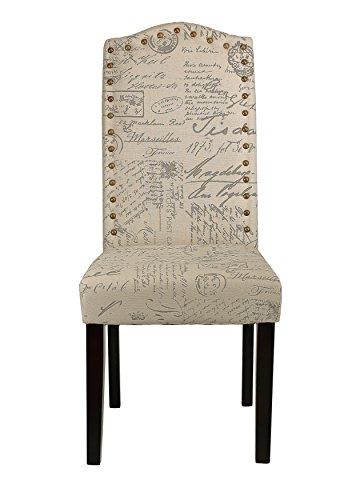 Cortesi Home Miller Dining Chair in Beige Script Fabric (Set of 2), Beige 1