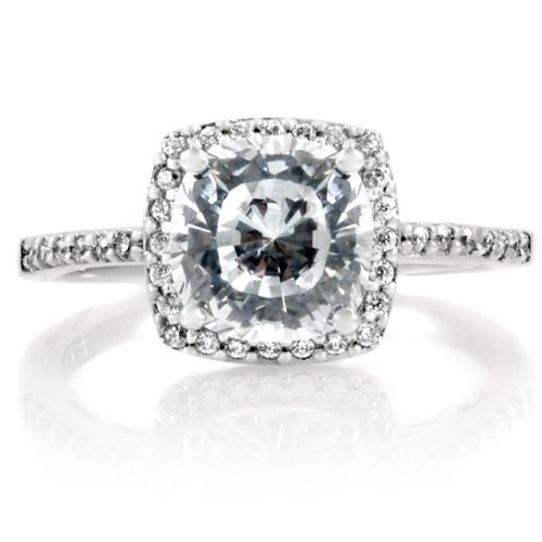 Sheryl's 2.5 CT Cushion Cut CZ Engagement Ring .925 Genuine Engagement Sterling Silver Anniversary Ring Band Gift Boxed Size 9