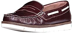 Palma Moda Womens Dark Brown Burgundy Leather Loafers - 4 Uk