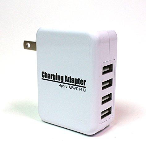 4ポートUSB-AC充電アダプター 急速充電2.1A対応 出力合計最大4A 100V~240V対応 20W スイングACプラグ iPhone iPad Android 携帯電話 タブレット WiFiルーターなど ホワイト