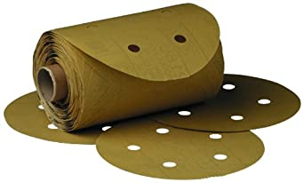 "3M Stikit Gold Paper D/F Disc Roll 216U, PSA Attachment, Aluminum Oxide, 5"" Diameter, P180 Grit (Roll of 175)"