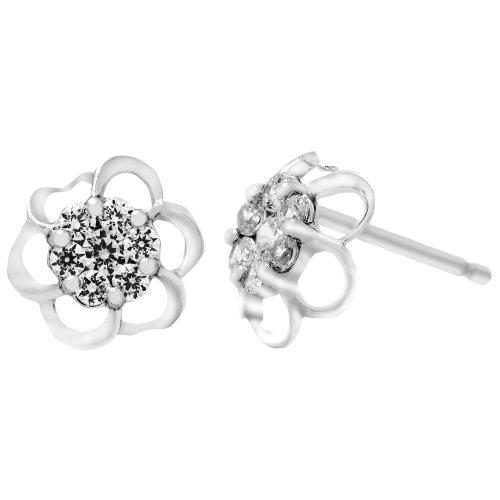Sterling Silver Created White Sapphire Flower Earrings
