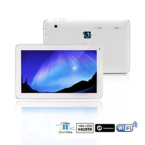 iRulu 10 inch Quad Core Android Tablet PC, Upgrade to Android 4.4 KitKat OS, 1024*600 HD Screen, Dual Cameras Cortex-A7 1.0Ghz 5 Point Capacitive Touch Screen, HDMI, Bluetooth White color , 8GB Storage