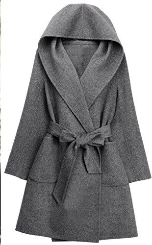 (アールティーセレクト)RT Select レディース コート ジャケット ガウンコート フード付き カシミヤ混 TC59 (M, グレー)