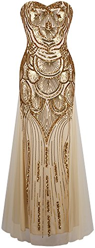 Angel-fashions Women's Sequin Strapless Sweetheart Mesh Lace up Banquet Dress XLarge Gold