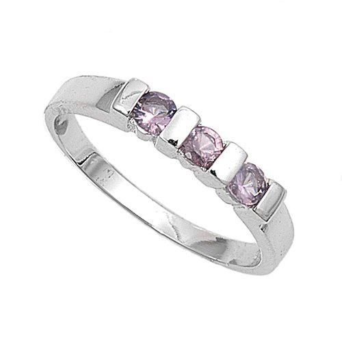 Sterling Silver Baby Ring with Amethyst Colored CZ - 2mm Band Width - 3mm Face Height - Sizes: 1-4 - Rhodium Plated