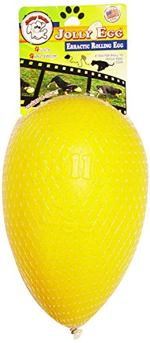 Jolly Pets Egg Plastic Ball for Pets, 12-Inch, Yellow