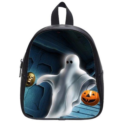 Generic Custom Evil Pumpkin Skull Halloween Theme Printed School Bag Backpack Fit Short Trip Pu Leather Small front-62834