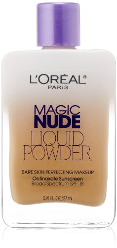 L'Oreal Paris discount duty free L'Oreal Paris Magic Nude Liquid Powder Bare Skin Perfecting Makeup SPF 18, Natural Beige, 0.91 Ounces