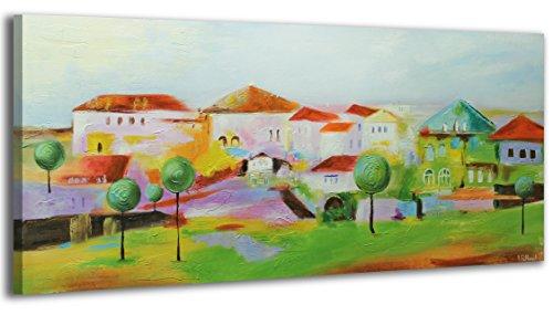 100% HANDMADE + Certificato | Quadro dipinto con colori acrilici Cittadina | 115x50 cm | dipinti su tela con lettiga in legno | artigianali | Comodo fissaggio alla parete | Arte Contemporanea