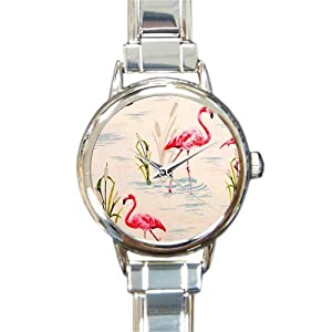 Special Design Beaituful Pink Flamingos, Love Flamingos Round Italian Charm Watch