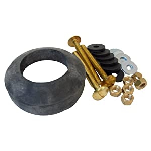 LASCO 04-3809 Toilet Tank To Bowl Bolt Kit Brass Bolts with Washers, Hex/Wing Nuts, Gasket, for Norris or Mansfield Toilets