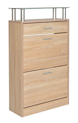 ts-ideen-Schuhschrank-Schuhregal-Schuhkipper-Eiche-Flur-Diele-Holz-mit-einer-Schublade-und-Ablageflche-aus-Glas-104-x-60-cm