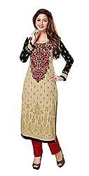 PADMiNi Ethnicwear Women's Dress Material Beige Free Size
