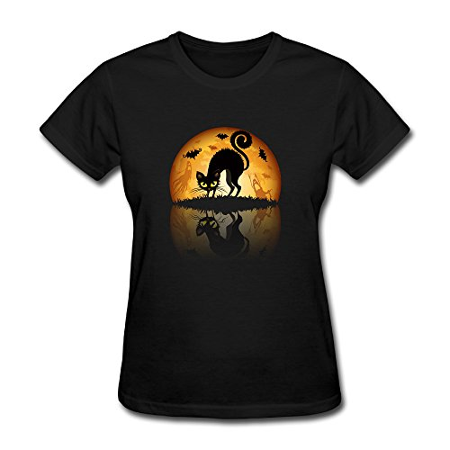 [Sunflower Women Tshirts Fashion Cat With Night Scenery Mixed Black SizeL] (Assassins Creed Unity Costume Customization)