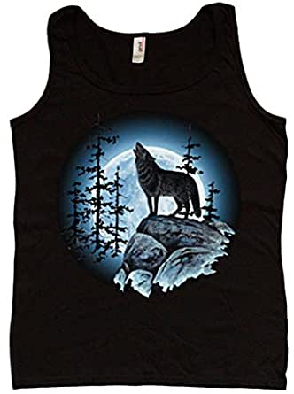 Wolf moon ladies tank top womens t shirt clothing for Amazon review wolf shirt