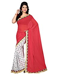 Abida Beautiful Georgette Red And White Color Saree