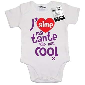 Dirty Fingers - J'aime ma tante. Elle est cool x - Body bébé, 100% coton, 0-3 mois, Blanc