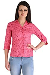 ZAIRE Women's Fashionable Polka Dotted 3/4 Sleeves Cotton Top (2276-3/4TH,Pink,L)