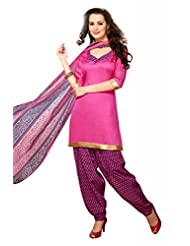 Pink Cotton Floral Print Salwar Kameez Dress Material