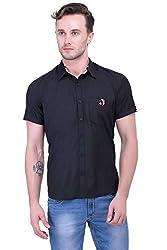 Trendster Black Solids Half Sleeve Casual New Men's Shirt