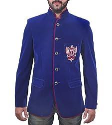 FashionSeva Men's Blazer (Blaz-1000_Blue Red_40)